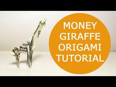 MONEY GIRAFFE Origami 1 Dollar Tutorial DIY Folded No glue and tape