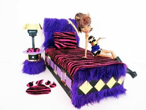 How to make a Clawdeen Wolf Doll Bed Tutorial/ Monster High