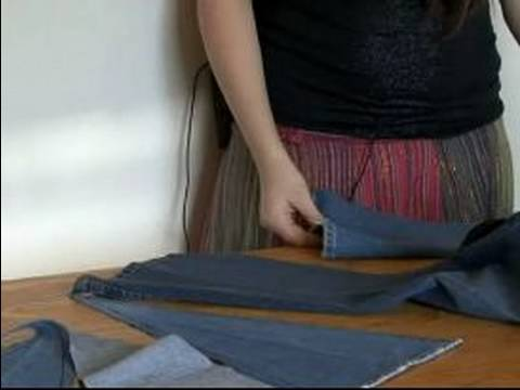 How to Make Bell Bottoms Out of Jeans : Pinning Inserts for Bell Bottom Jeans