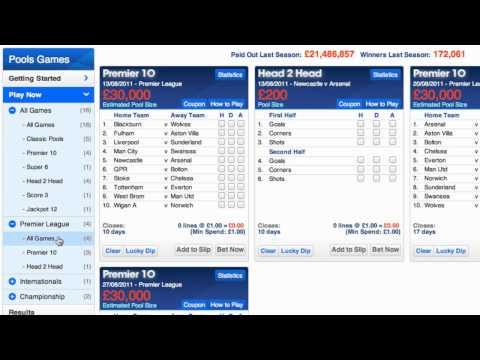 Choosing a game on Football Pools Online