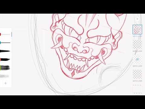 Hannyah mask traditional tattoo flash drawn on iPad