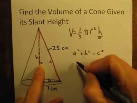 Calculate the Volume of a Cone Given Its Slant Height