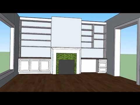 Built-in shelves, cabinet, and desk 3D mock up