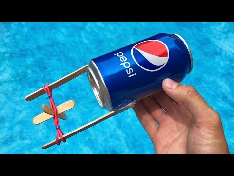 How to Make Rubber Band Boat using Pepsi Can