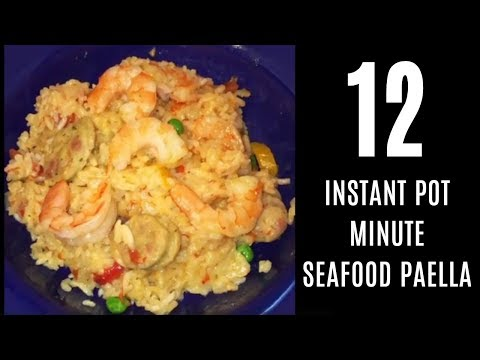 Easy Instant pot Seafood Paella Recipe with chicken and SHRIMP 12 minute meal