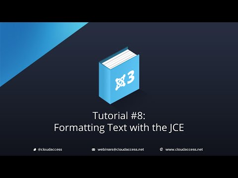 Getting Started with Joomla 3 & CloudBase 3: Formatting Text with the JCE - Tutorial #8