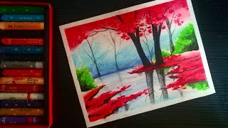 Four season scenery drawing with oil pastel | Easy Multiple drawing