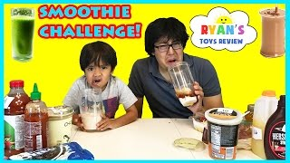 SMOOTHIE CHALLENGE! Super Gross Smoothies for Kids with Ryan ToysReview Family Fun Activites