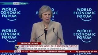 Davos 2017 Theresa May addresses the World Economic Forum
