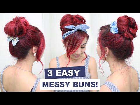 3 Easy Messy Buns l Cute Hair Buns l Summer Hairstyles for Medium Long Hair