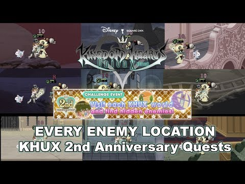 ALL 28 HIDDEN ENEMIES Anniversary Quests - Kingdom Hearts Union X