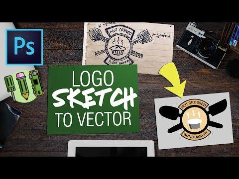 Photoshop Logo Sketch to Vector Design   Engineering Design Mockup Tutorial