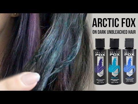 Arctic Fox Hair Dye on Dark Unbleached Hair (Purple Rain, Aquamarine & Poseidon)