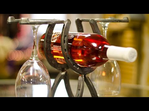 How To Weld A Horseshoe Wine and Glass Rack With BarbieTheWelder