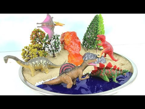 DIY VOLCANO ERUPTION with Lava. Learn Dinosaurs With 4D Puzzle for Kids Mini beach Kinetic Sand