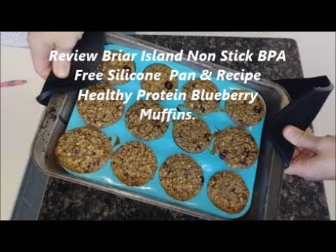 Review Non Stick BPA Free Silicone Pan Bake Cupcake Egg & Recipe Healthy Protein Blueberry Muffins.
