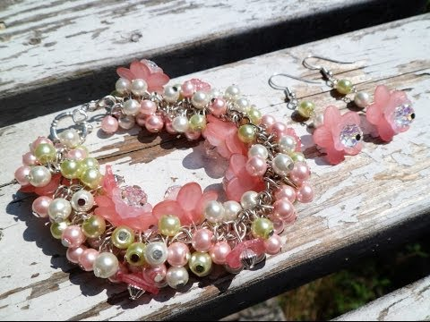 PandaHall Jewelry Making Tutorial Video--Pretty in Pastels Chunky Flower Bracelet and Earring Set