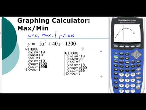 Lesson 5.1 - Finding the Max or Min Using the Graphing Calculator