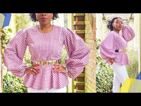 BALLOON SLEEVES PEPLUM BLOUSE [HOW TO SEW] | KIM DAVE