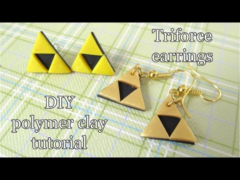 How to make polymer clay Triforce tutorial earrings by Talty