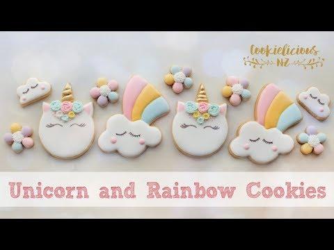 How to make UNICORN HEAD & CUTE RAINBOW COOKIES - Step by Step tutorial