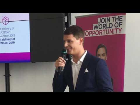 At Milan Bergamo Airport, Gabor Vasarhelyi Corporate Communications Manager of Wizz Air