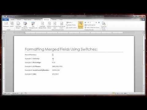 Formatting Merged Fields Using Switches.