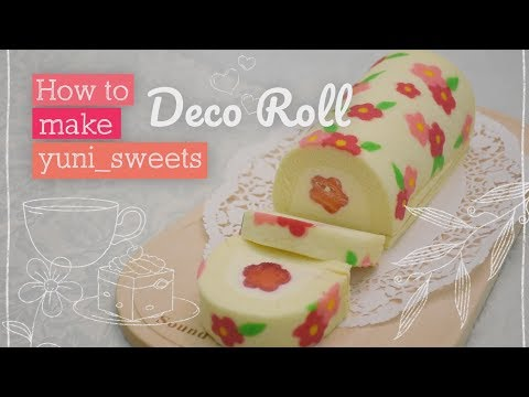 How to make floral design Rollcake! | yunisweets Deco Roll