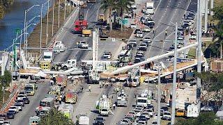 #x202b;شاهد إنهيار جسر رُكب منذ أسبوع فقط في فلوريدا#x202c;lrm;