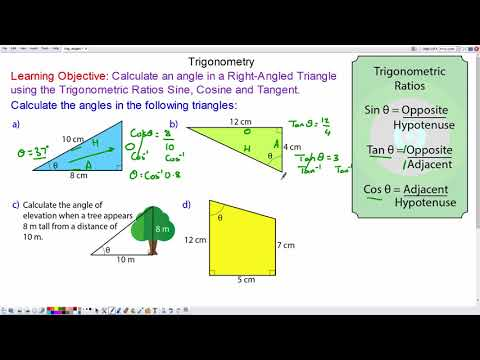 How to find angles in right-angled triangles using trigonometry