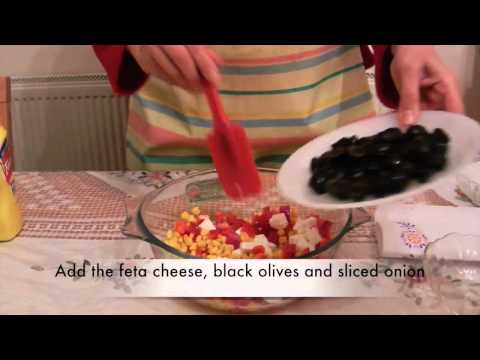 Greek Salad with sweet corn and black olives