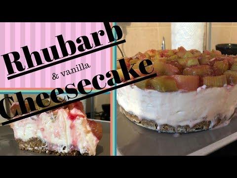 Sweet'n'Sour No Bake Rhubarb Cheesecake with an Oaty Base