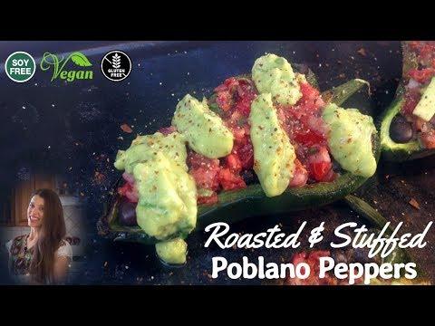 Stuffed Poblano Peppers + how to make Salsa & Guacamole (V + GF)