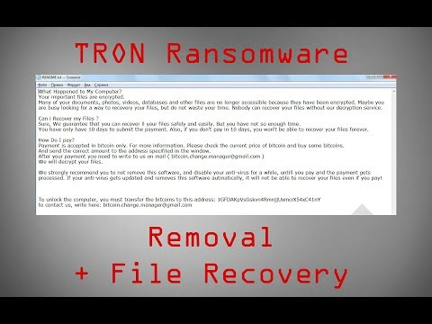 .TRON Files Virus   How to Remove + Restore Your Data