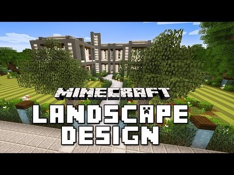Minecraft Tutorial: Garden Landscape with Custom Trees And Lawn  (Modern House Build Ep. 23)