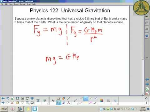 Physics 122: Universal Gravitation - Calculating g for a Planet