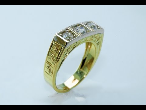 Handmade, 18 KT gold ring antique style .
