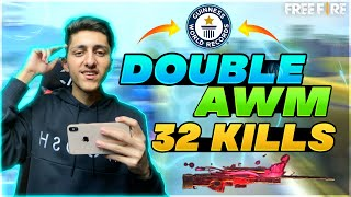 Double AWM 32 Kills World Record ( Must Watch ) - Garena Free Fire