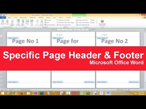 How to put specific page header or footer in Microsoft Word