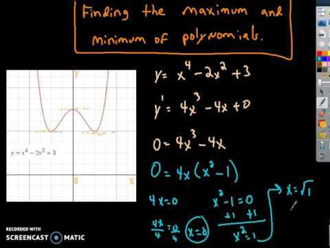 Using derivatives to find the coordinates for the local max and local minimum of a polynomial