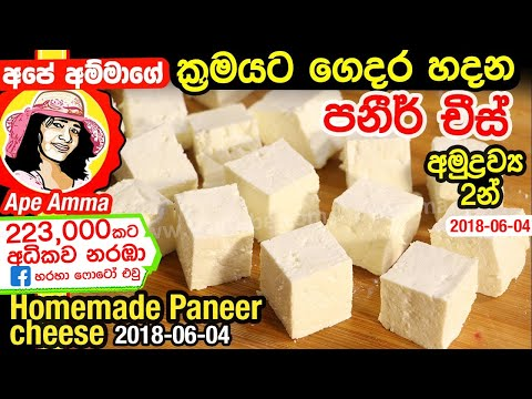 ✔ ගෙදර හදන පනීර් චීස් Soft & Quick Paneer Recipe (English Sub) by Apé Amma