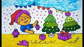 How To Draw Scenery Of Christmas Scenery For Beginners Learn Step By
