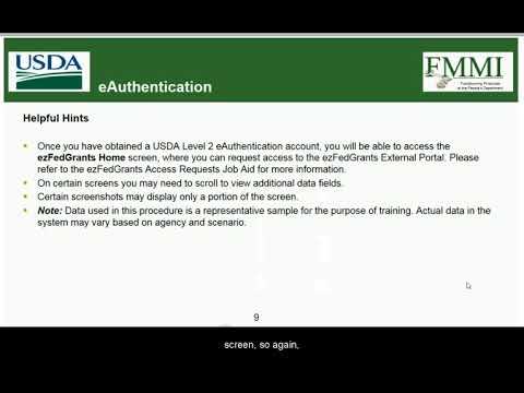 ezFedGrants Training: eAuthentication
