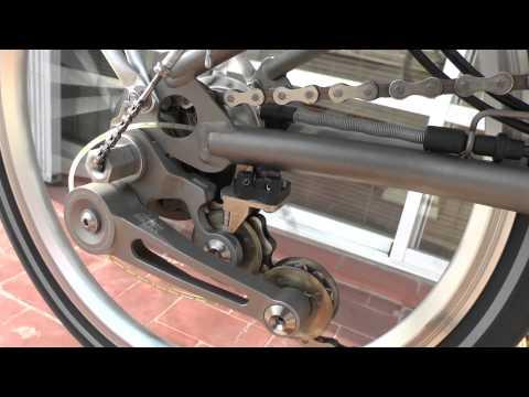 Titanium Brompton, with BikeFun Chain tensioner and homemade bearing pusher