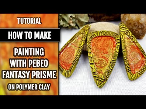Part 6. Tutorial. Painting with Pebeo Fantasy Prisme on Polymer clay.
