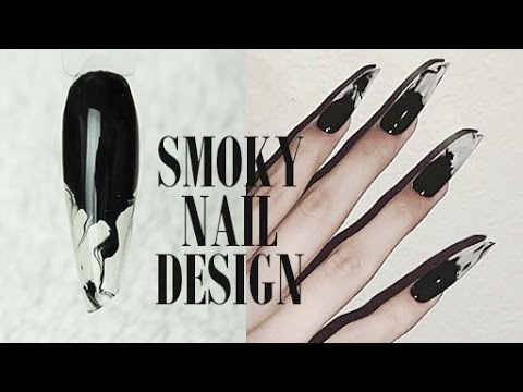 Smoky Design + Long Lipstick Shape by Goda Flawless Nails
