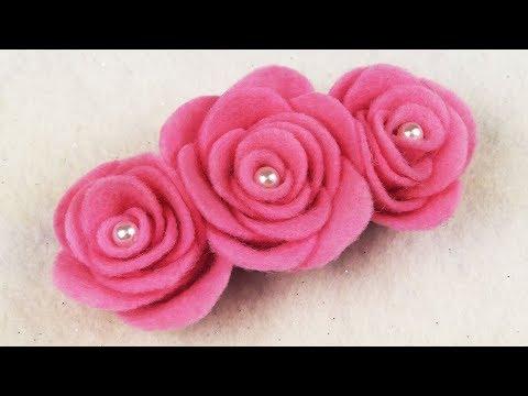 EASY DIY: How To Make Felt Roses NO SEW I DIY DECEMBER EP. 6 I DIY Felt Flower Hairclip