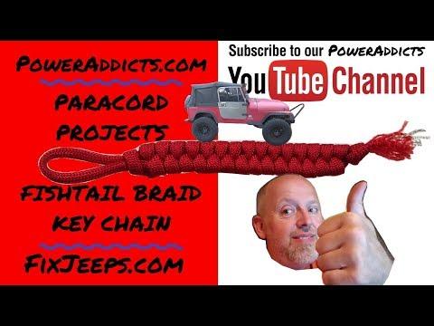 Paracord Projects - Fishtail Braid Keychain #paracordkeyfob #paracord