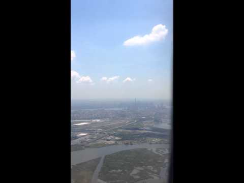 Flying into Newark airport. You can see Manhattan & the Sta