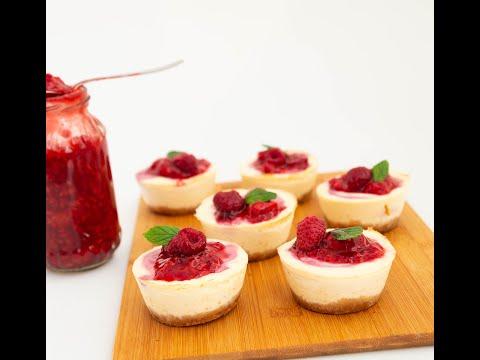 Mini Raspberry cheesecakes Recipe | Raspberry Cheesecake